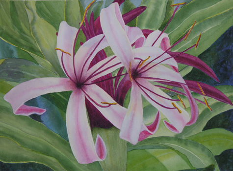 milk and wine lillies  painting