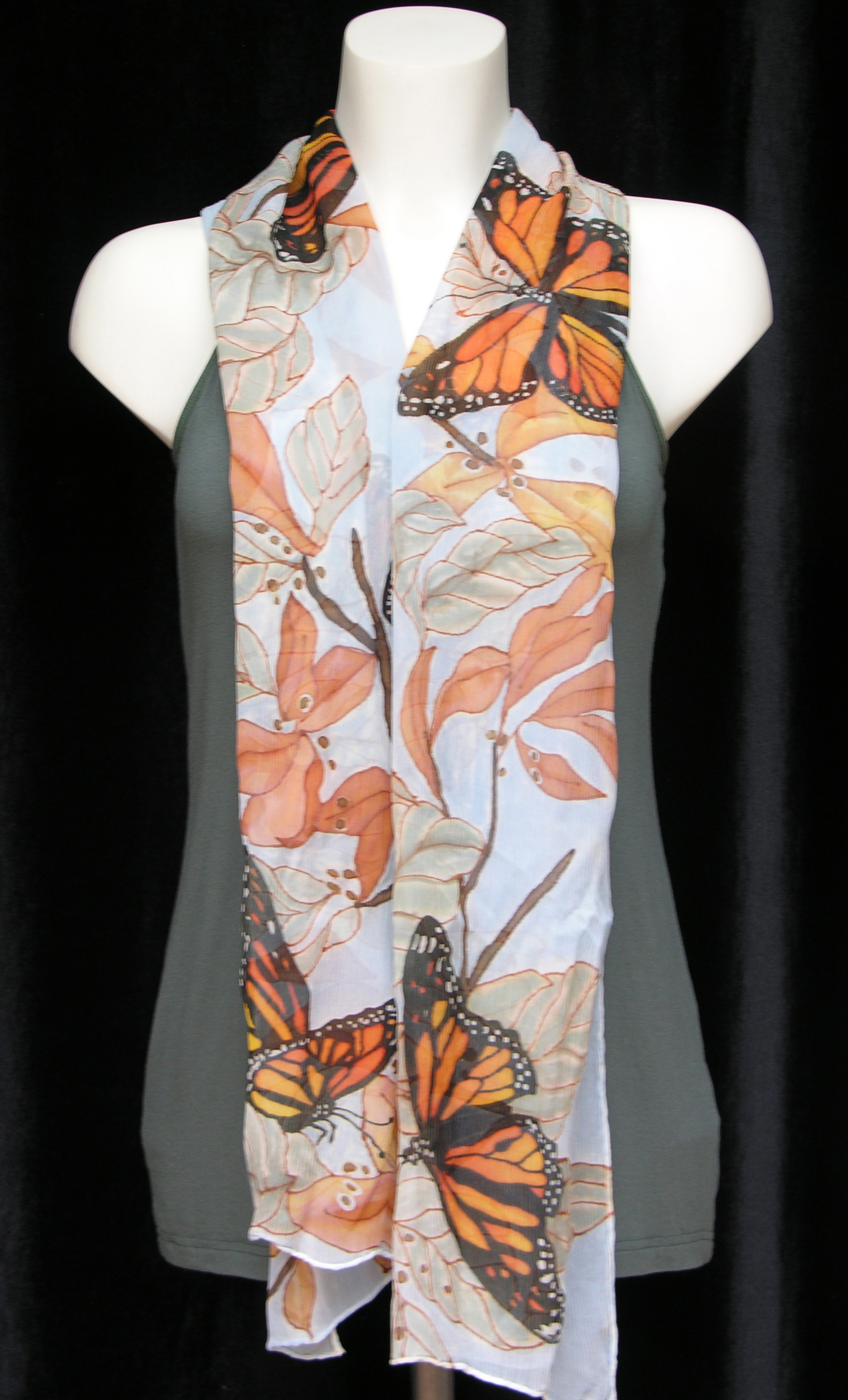 Monarch Butterflies Silk Scarf